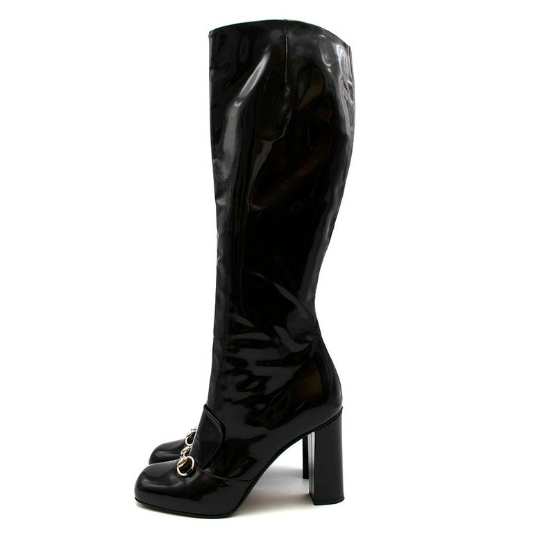 Gucci Lillian Horsebit Black Patent Heeled Boots 39.5 In Excellent Condition For Sale In London, GB
