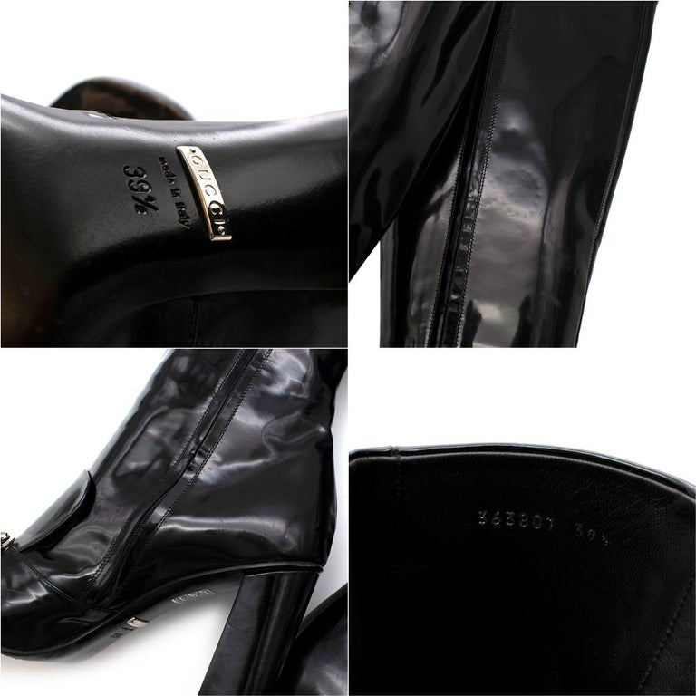Gucci Lillian Horsebit Black Patent Heeled Boots 39.5 For Sale 1