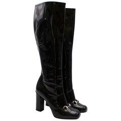 Gucci Lillian Horsebit Black Patent Heeled Boots 39.5