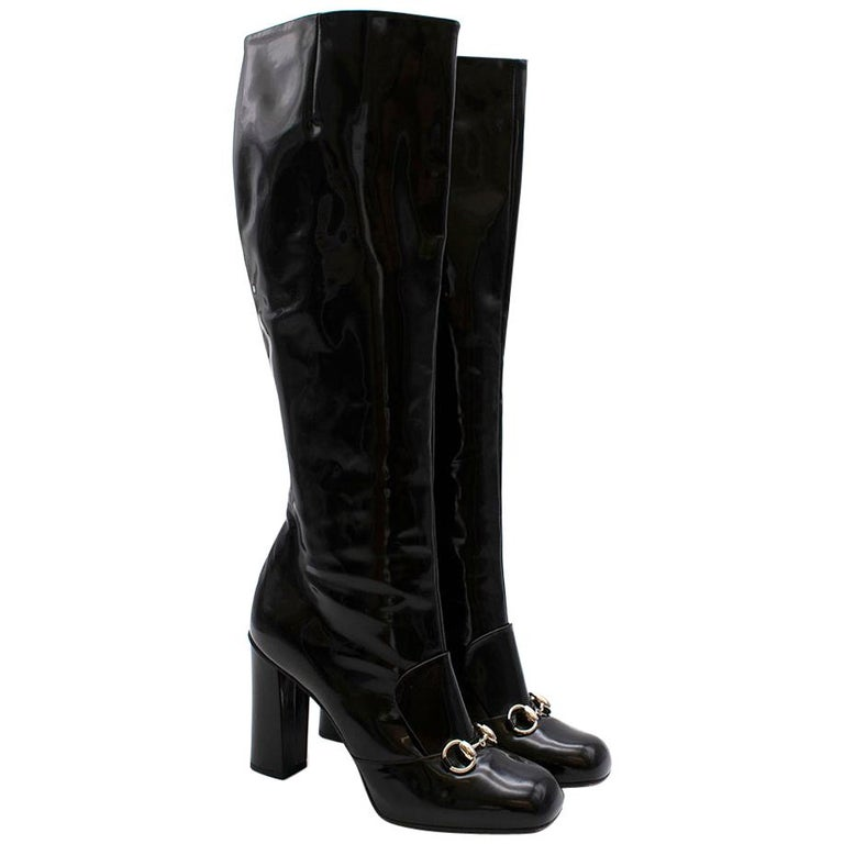 Gucci Lillian Horsebit Black Patent Heeled Boots 39.5 For Sale