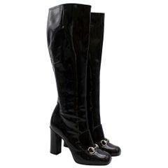 Gucci Lillian Horsebit Black Patent Heeled Boots - Size EU 39.5