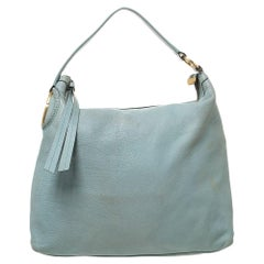 Gucci Lime Green Leather Twill Hobo