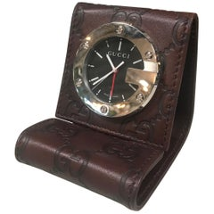 Gucci Limited Edition Brown Travel Desk Alarm Clock/Watch, Italy, 1980s
