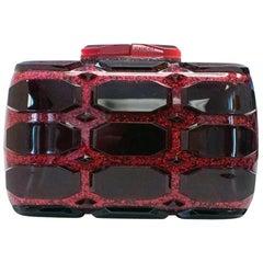 Gucci Limited Edition Burgundy Glitter Geometric Lego Small Evening Clutch Bag
