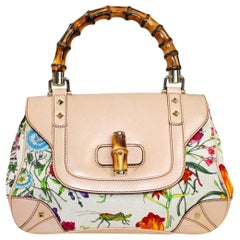 Gucci Limited Edition Flora Print Canvas Hand Bag Bamboo Top Handle