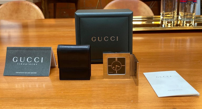 Mid-Century Modern Gucci Limited Edition Luxury Travel Clock, 1970s For Sale