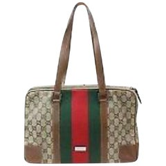 6188fba91ad Gucci Limited Edition Sherry Monogram Web Zip 870031 Brown Canvas Tote
