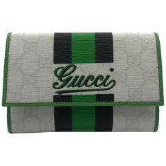 Gucci Limited Edition Wallet White GG Script Logo with Green & Black Stripe