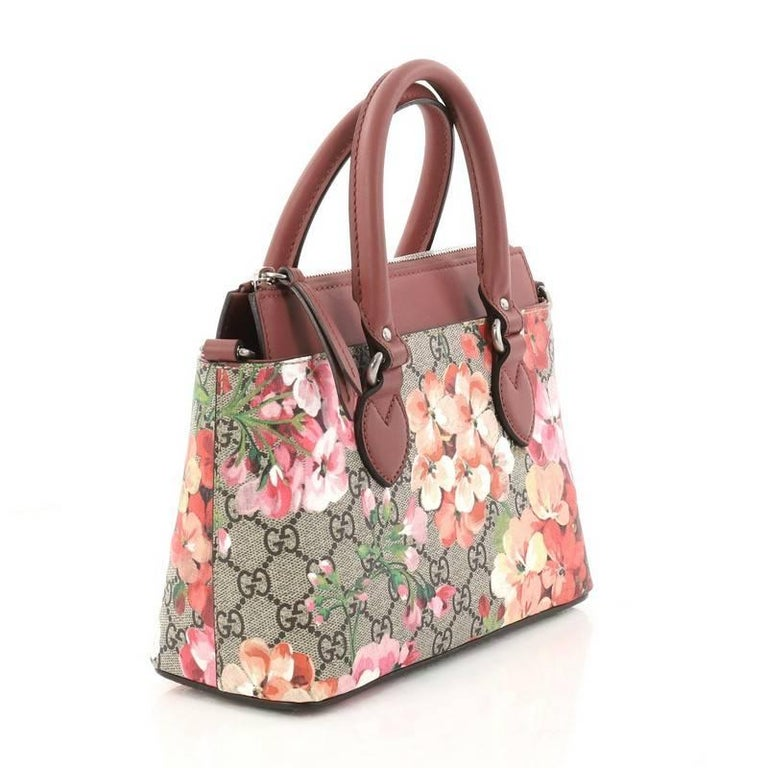 Gucci Linea A Convertible Tote Blooms Print Gg Coated