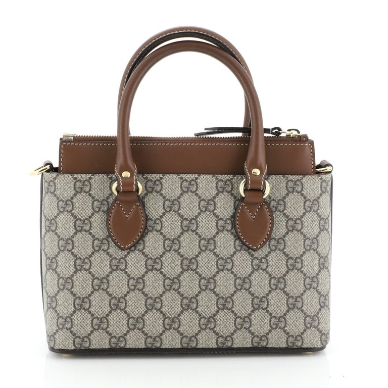 Gucci Linea A Convertible Tote GG Coated Canvas Mini In Good Condition In New York, NY