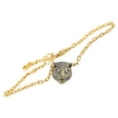 Gucci LMDM 18 Karat Yellow Gold Diamond and Jade Feline Motif Charm Bracelet