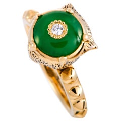 Gucci LMDM 18 Karat Yellow Gold Diamond and Jade Feline Motif Ring