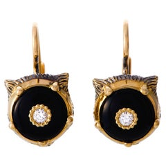 Gucci LMDM 18 Karat Yellow Gold Diamond and Onyx Feline Motif Earrings