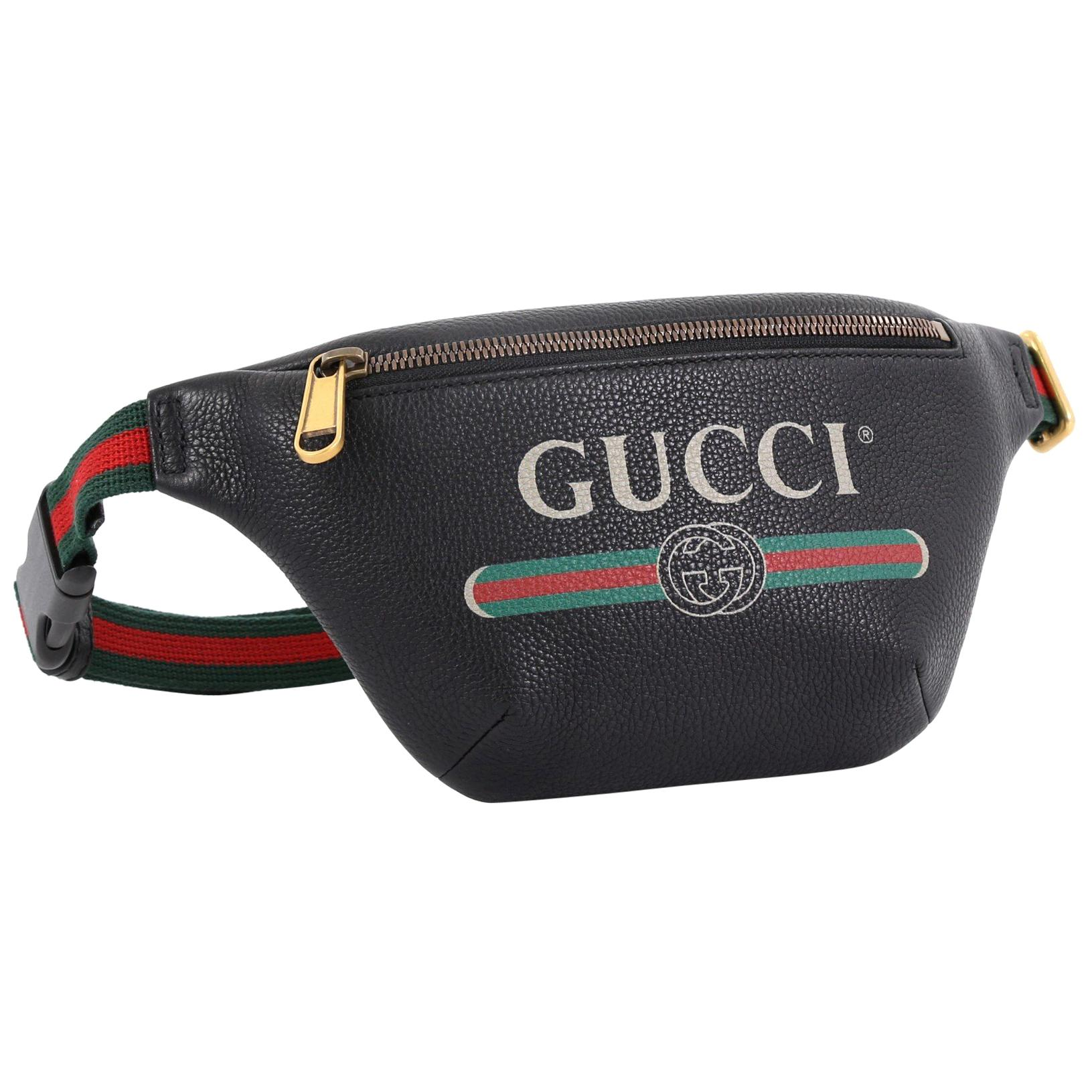 e5d7204e3 Gucci Logo Belt Bag Printed Leather Small at 1stdibs