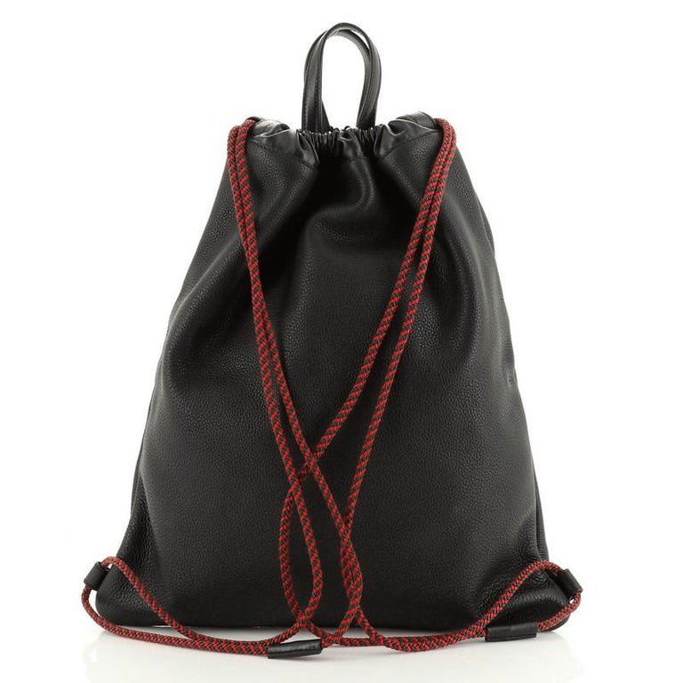 Black Gucci Logo Drawstring Backpack Printed Leather Large For Sale