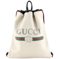 Gucci Logo Drawstring Backpack Printed Leather Large