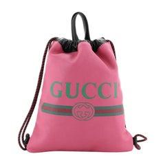 Gucci Logo Drawstring Backpack Printed Leather Medium