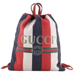 Gucci Logo Drawstring Backpack Striped Raffia Large