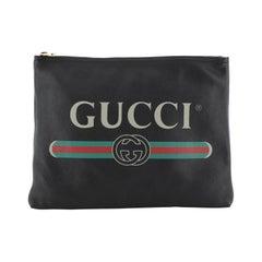 Gucci Logo Portfolio Clutch Printed Leather Medium