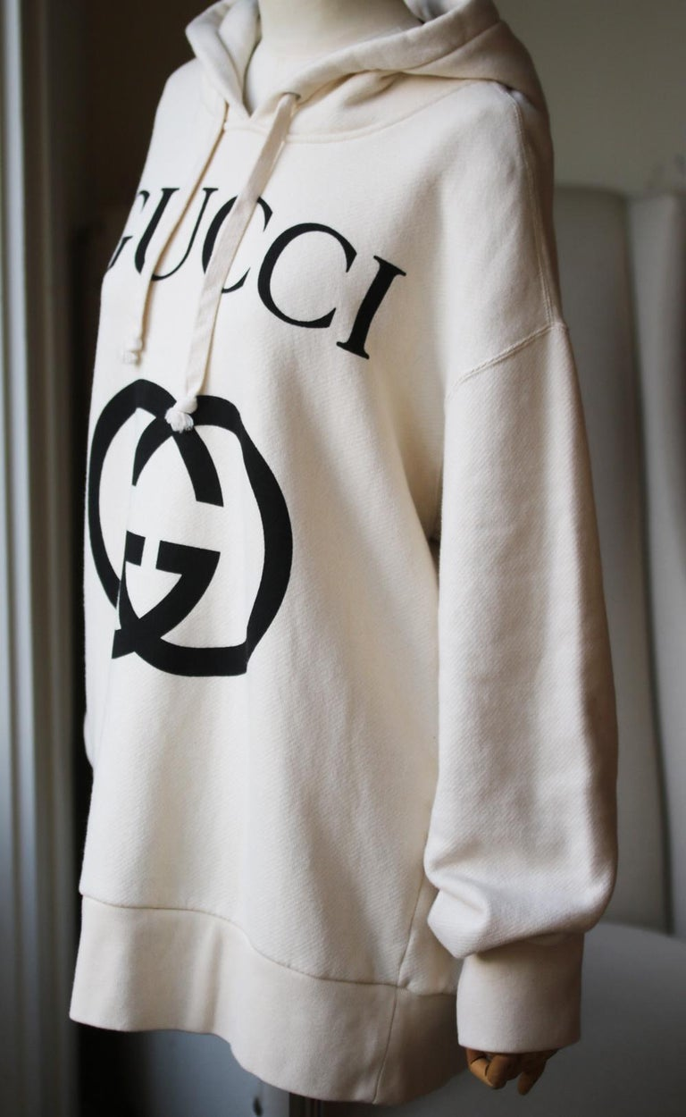 Gucci Logo-Printed Cotton-Jersey Hooded Sweater In Excellent Condition In London, GB