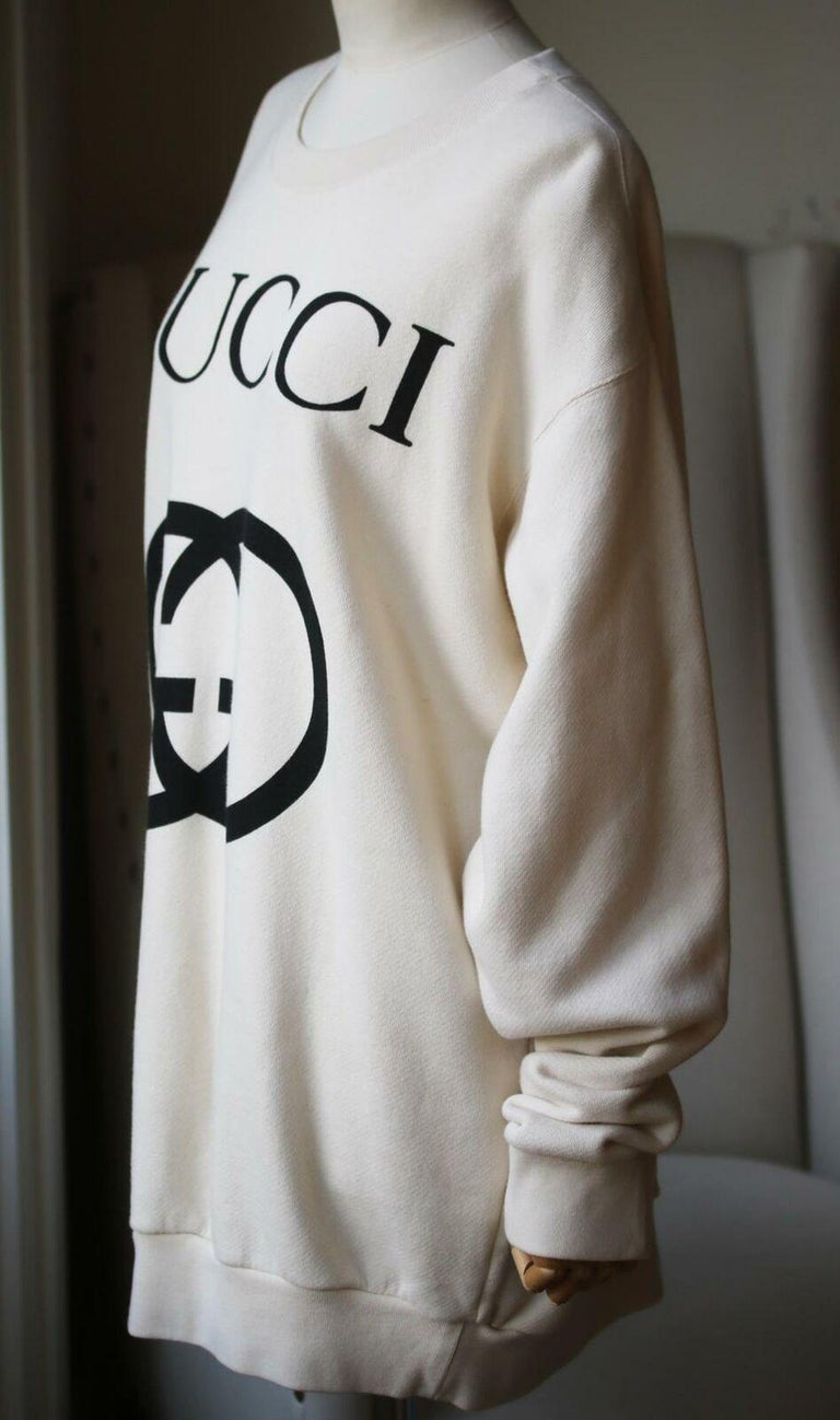 White Gucci Logo-Printed Cotton-Jersey Sweatshirt For Sale