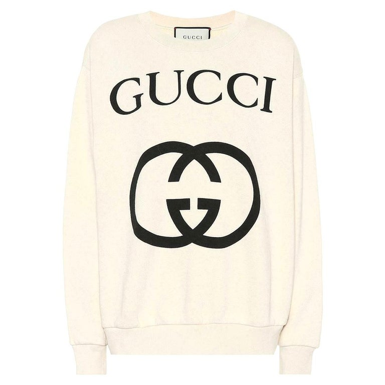 Gucci Logo-Printed Cotton-Jersey Sweatshirt For Sale