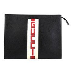 Gucci Logo Stripe Pouch Leather