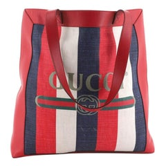 Gucci Logo Tote Striped Canvas and Leather Large