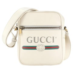 Gucci Logo Zip Messenger Bag Printed Leather Small