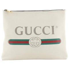 Gucci Logo Zip Pouch Printed Leather Medium