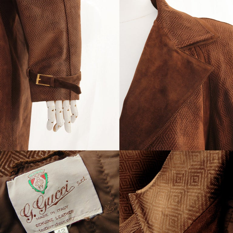 Gucci Long Textured Suede Coat with Matching Skirt 2pc Set Vintage Sz 42/46  For Sale 2