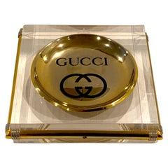 Gucci Lucite and Brass Vide-Poche
