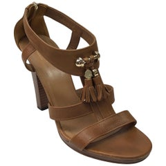 Gucci luggage T strap Wood Stack Heel w/ front tassel-38