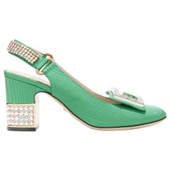 GUCCI Madelyn Moire green crystal embellished G buckle slingback mid heel EU36