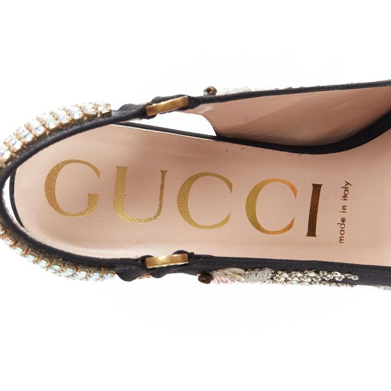 GUCCI Madelyn Moire siok crystal embellished G buckle slingback mid heel EU36 6