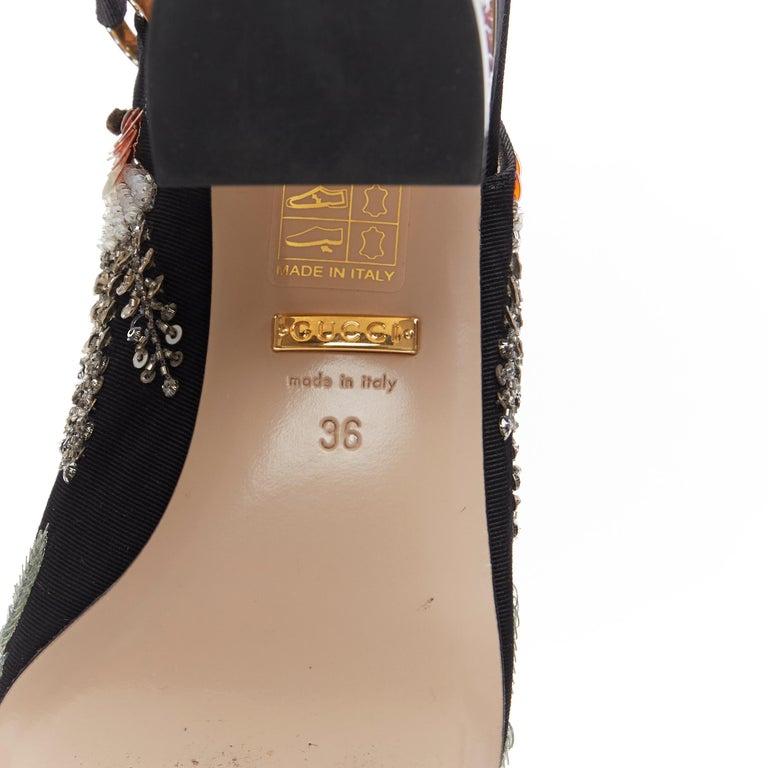 GUCCI Madelyn Moire siok crystal embellished G buckle slingback mid heel EU36 7