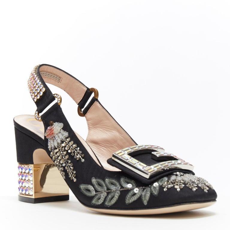 Black GUCCI Madelyn Moire siok crystal embellished G buckle slingback mid heel EU36