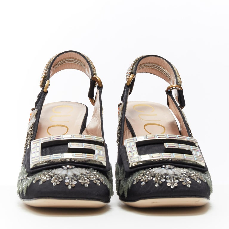 GUCCI Madelyn Moire siok crystal embellished G buckle slingback mid heel EU36 In Excellent Condition In Hong Kong, NT