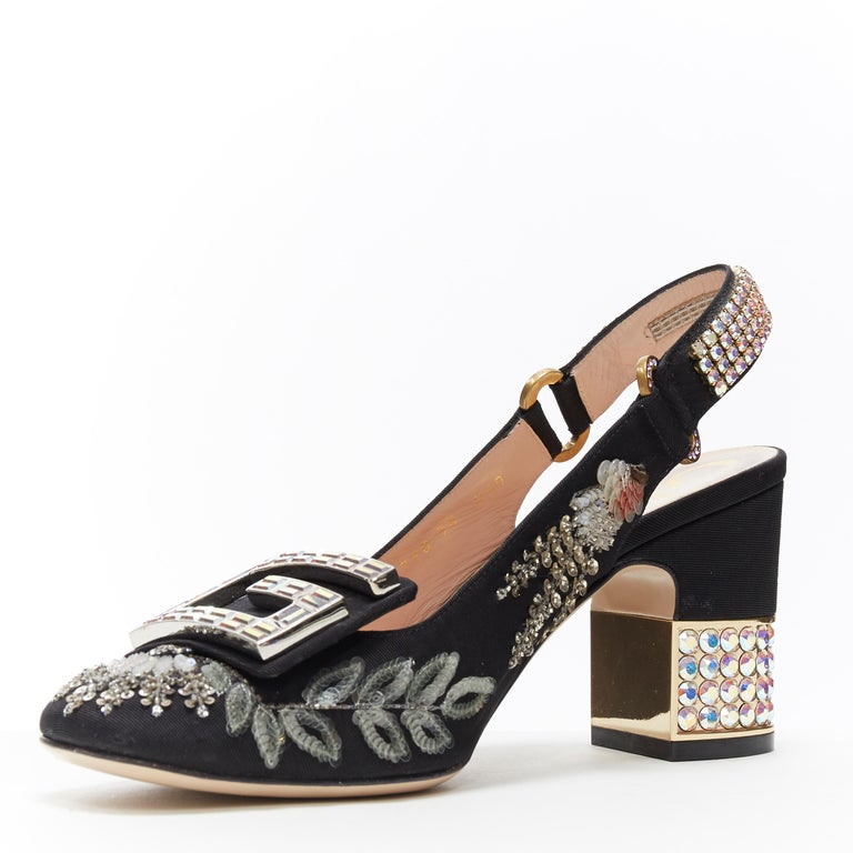 Women's GUCCI Madelyn Moire siok crystal embellished G buckle slingback mid heel EU36