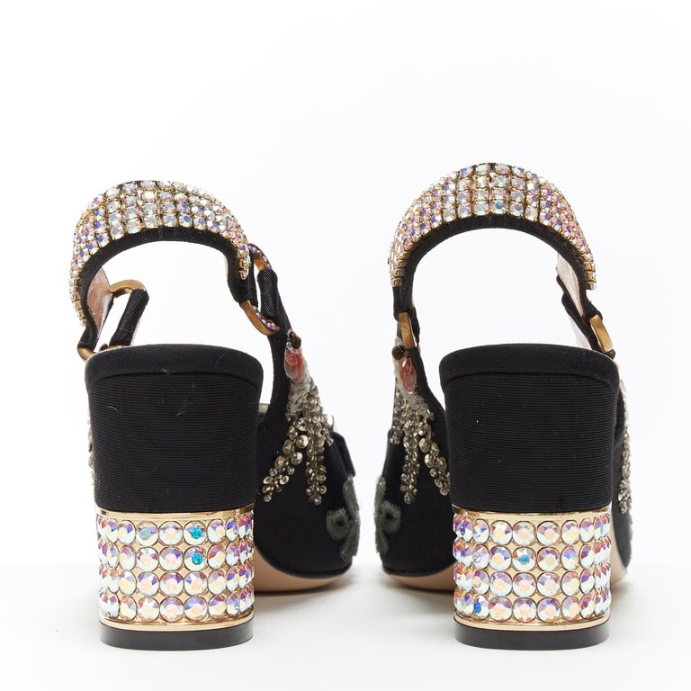 GUCCI Madelyn Moire siok crystal embellished G buckle slingback mid heel EU36 1