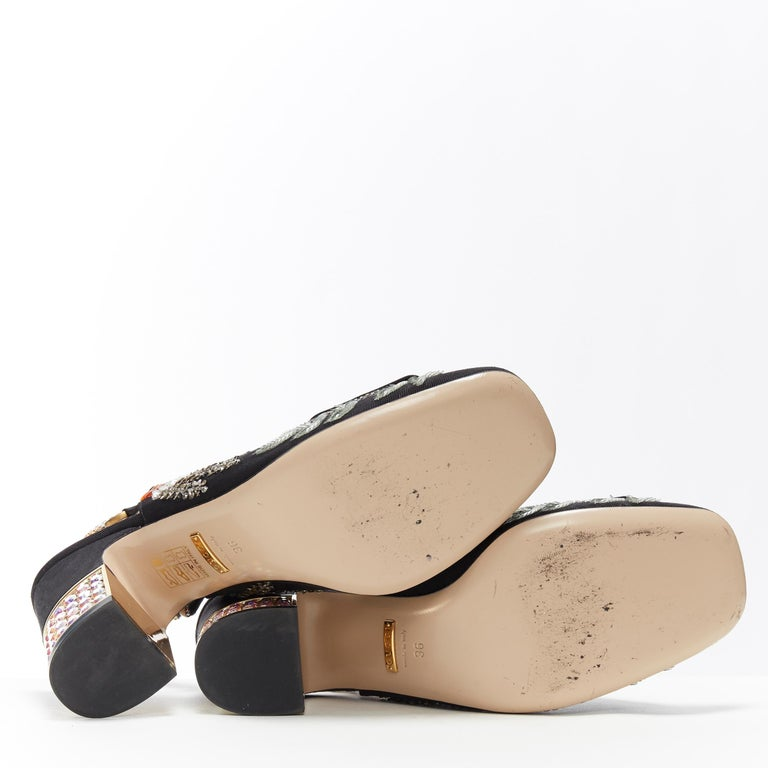 GUCCI Madelyn Moire siok crystal embellished G buckle slingback mid heel EU36 2
