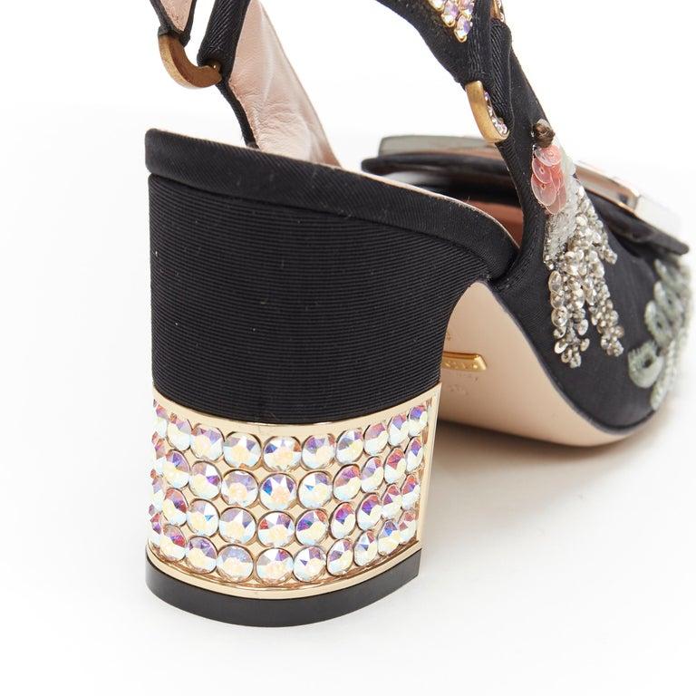 GUCCI Madelyn Moire siok crystal embellished G buckle slingback mid heel EU36 4