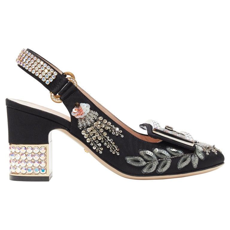 GUCCI Madelyn Moire siok crystal embellished G buckle slingback mid heel EU36