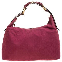 Gucci Magenta GG Canvas and Leather Medium Horsebit Hobo