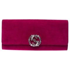 Gucci Magenta GG Crystal Embellished Suede Broadway Clutch