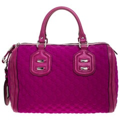 Gucci Magenta GG Neoprene Techno Tag Bowler Bag