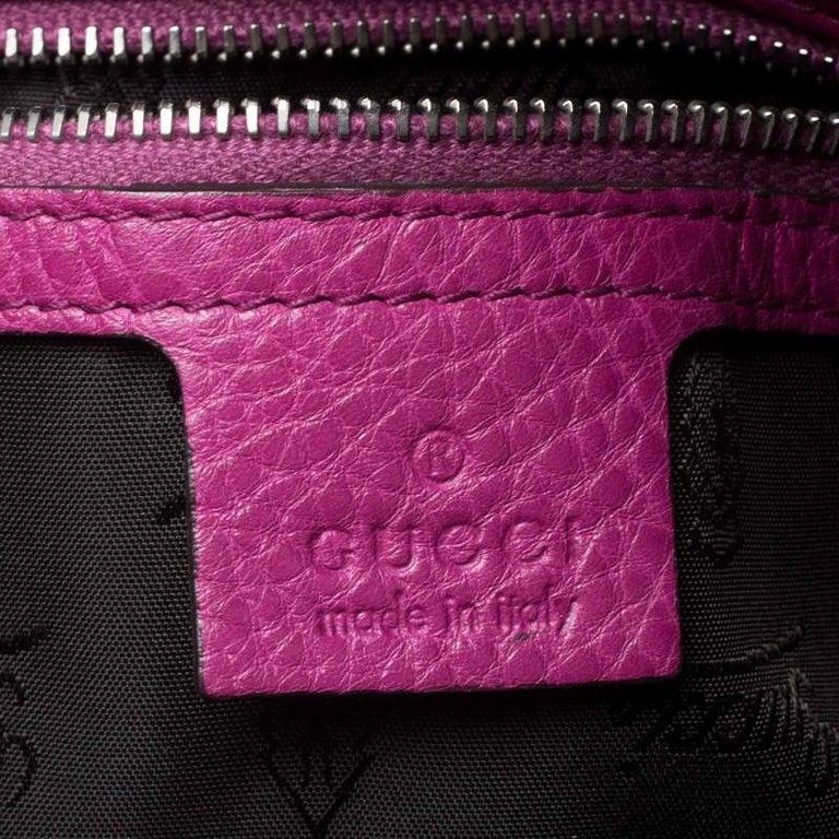 Gucci Magenta Guccissima Neoprene and Leather Medium Techno Tag Boston Bag For Sale 6