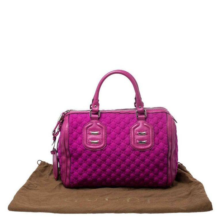 Gucci Magenta Guccissima Neoprene and Leather Medium Techno Tag Boston Bag For Sale 8