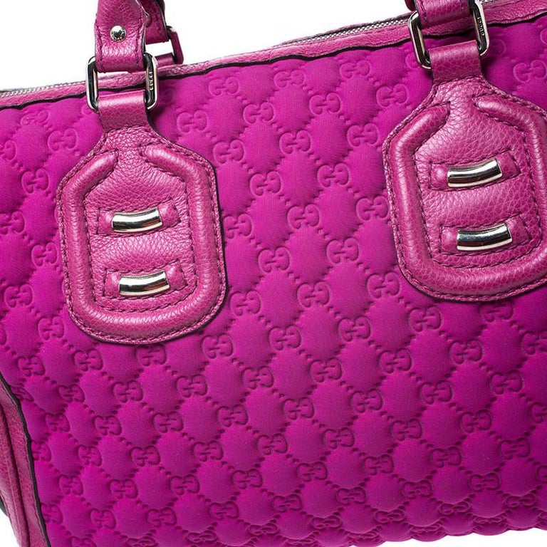 Women's Gucci Magenta Guccissima Neoprene and Leather Medium Techno Tag Boston Bag For Sale
