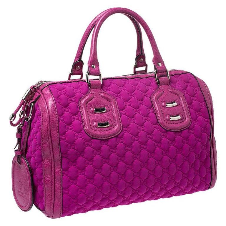 Gucci Magenta Guccissima Neoprene and Leather Medium Techno Tag Boston Bag For Sale 1